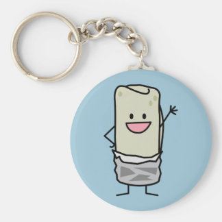 Happy Burrito Waving Hello Basic Round Button Key Ring