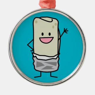Happy Burrito Waving Hello Silver-Colored Round Decoration