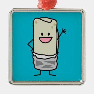 Happy Burrito Waving Hello Silver-Colored Square Decoration