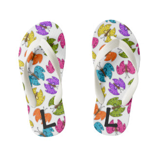 Happy Butterflies Flip Flops, Kids and Toddlers Flip Flops