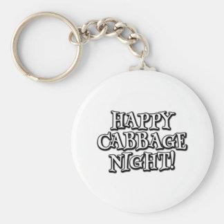 Happy Cabbage Night Basic Round Button Key Ring