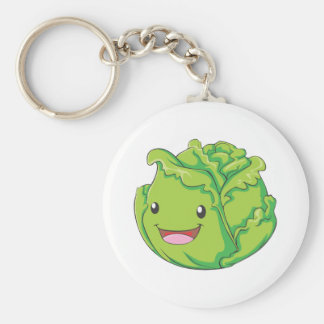 Happy Cabbage Vegetable Smiling Basic Round Button Key Ring