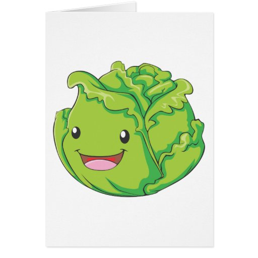 Happy Cabbage Vegetable Smiling Card