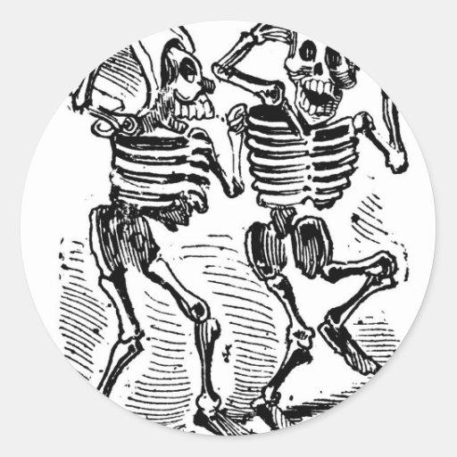 """Happy Calaveras"" Mexico's Day of the Dead Round Stickers"
