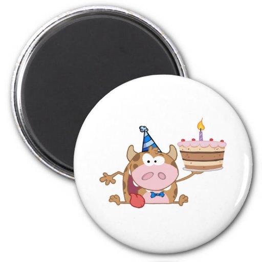 Happy Calf Cartoon Character Holds Birthday Cake Magnets