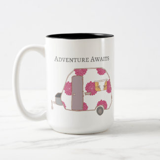 Happy Camper - Adventure Awaits Two-Tone Coffee Mug