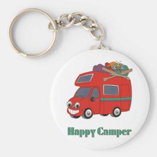 Happy Camper Basic Round Button Key Ring