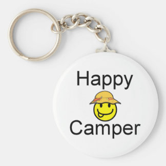 Happy Camper Basic Round Button Key Ring