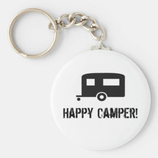 Happy Camper! Basic Round Button Key Ring
