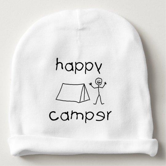 Happy Camper (blk) Baby Beanie