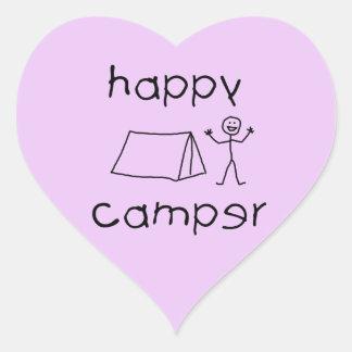 Happy Camper (blk) Heart Sticker