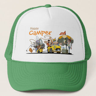 Happy camper camping with animals cap