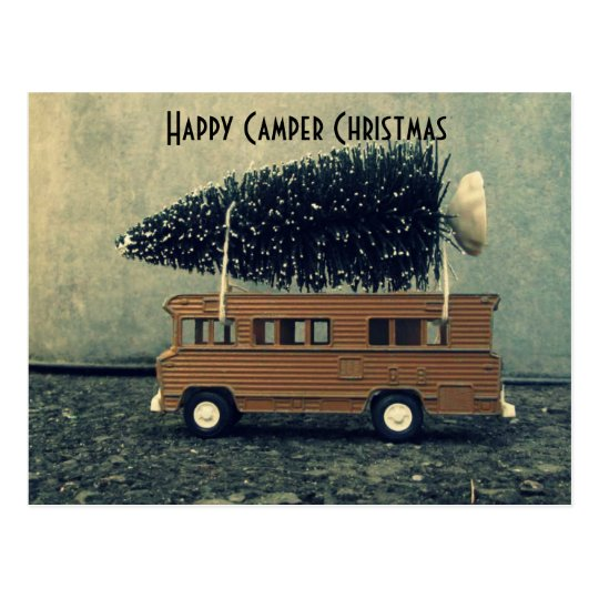 Happy Camper Christmas Bottlebrush Tree Postcard