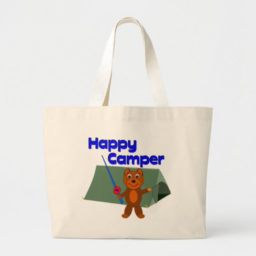 Happy Camper Fishing Pole Jumbo Tote Bag