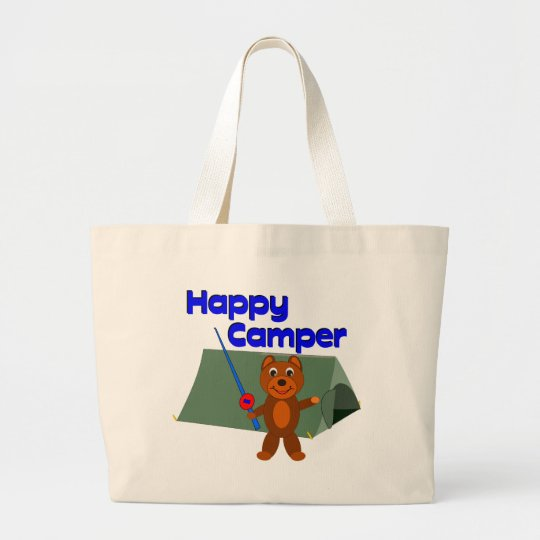 Happy Camper Fishing Pole Large Tote Bag