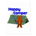 Happy Camper Fishing Pole Post Card