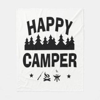Happy Camper Fun Camping Quote Fleece Blanket