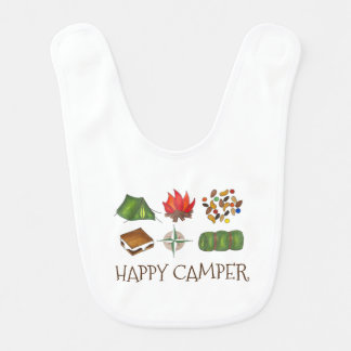 Happy Camper Fun Camping Summer Camp Baby Bib