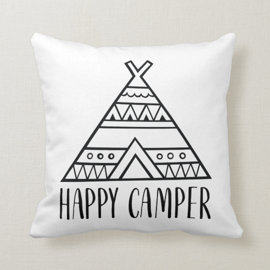 Happy Camper Funny Quote Tribal Tent Cushion