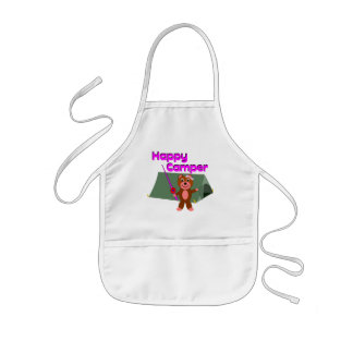 Happy Camper - Girl with Fishing Pole Kids Apron