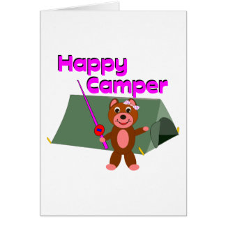 Happy Camper - Girl with Fishing Pole Greeting Card