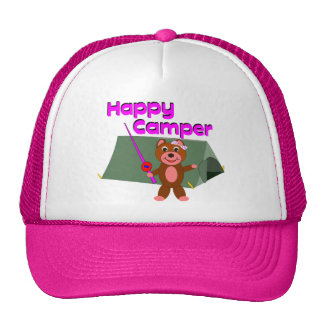 Happy Camper - Girl with Fishing Pole Mesh Hats