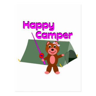 Happy Camper - Girl with Fishing Pole Postcard