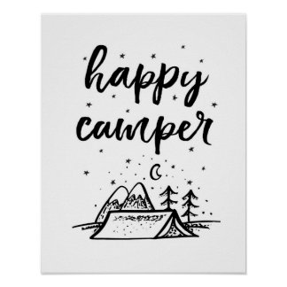 Happy Camper kids print black and white decor