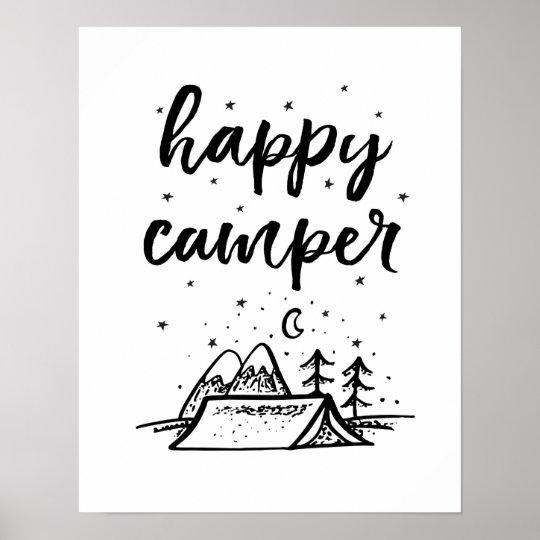Happy Camper kids print black and white decor