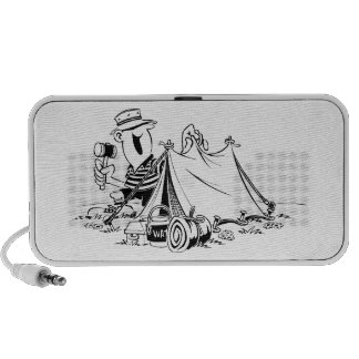 Happy Camper Man With Tent Doodle Travelling Speakers