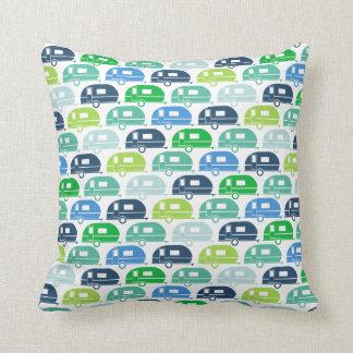 Happy Camper   Modern Camper Decor Blue Green Cushion