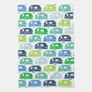 Happy Camper   Modern Camper Decor Blue Green Tea Towel