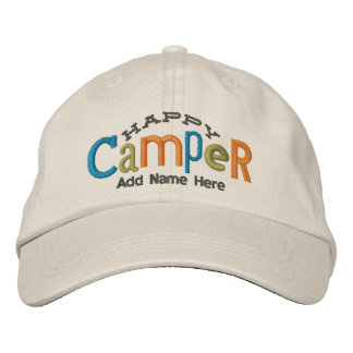 Happy Camper Personalize Embroidery Hat Embroidered Hats