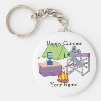 Happy Camper Personalized Cartoon Mouse Basic Round Button Key Ring