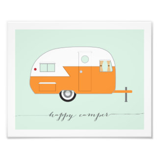 Happy Camper Photo Paper Print - Orange