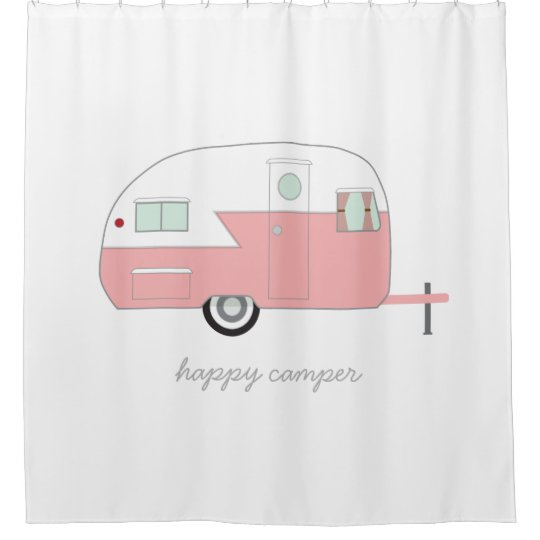 Happy Camper Pink Shower Curtain