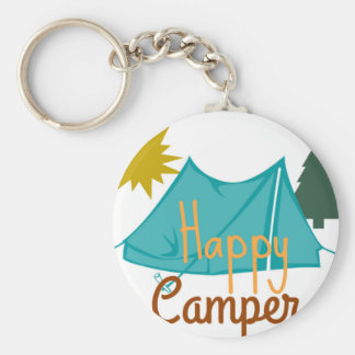 Happy Camper Tent Outdoors Basic Round Button Key Ring