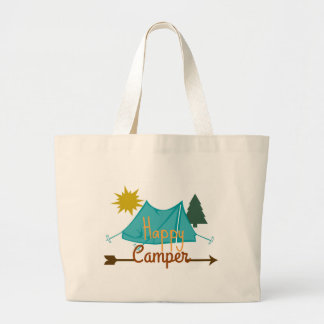 Happy Camper Tent Outdoors Jumbo Tote Bag