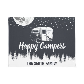 Happy Campers Moon Forest Family Name Doormat