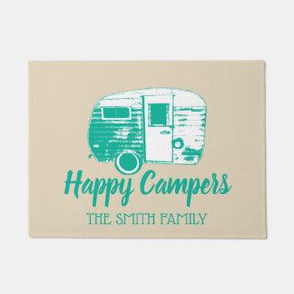 Happy Campers Retro Camper Trailer Family Name Doormat