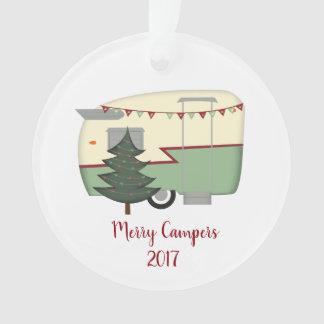 Happy Campers Retro Vintage Christmas Ornament