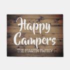 Happy Campers Rustic Barn Wood Personalised Doormat