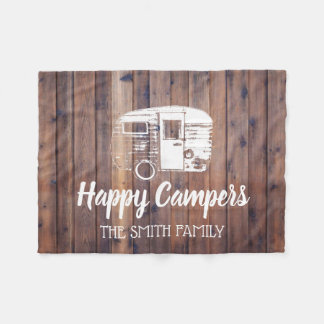 Happy Campers Rustic Camping Trailer Family Name Fleece Blanket