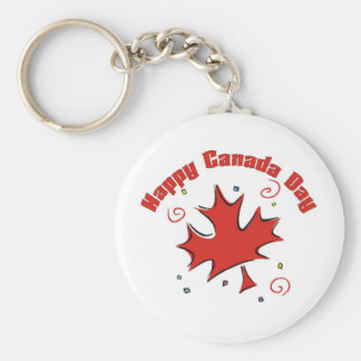 Happy Canada Day Basic Round Button Key Ring