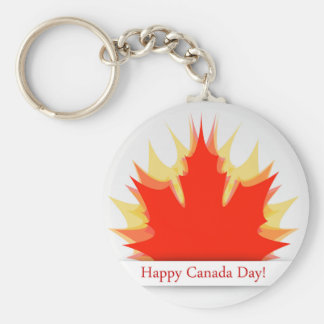 Happy Canada Day card with maple leaves Basic Round Button Key Ring