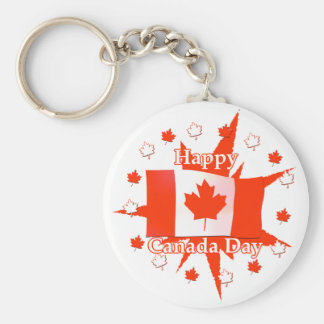 Happy Canada Day Flag Design Basic Round Button Key Ring