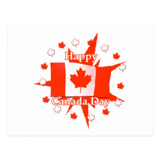Happy Canada Day Flag Design Postcard