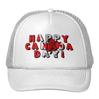 Happy Canada Day Flag Text Trucker Hat
