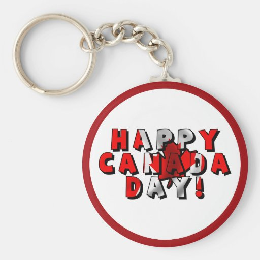Happy Canada Day Flag Text Keychain