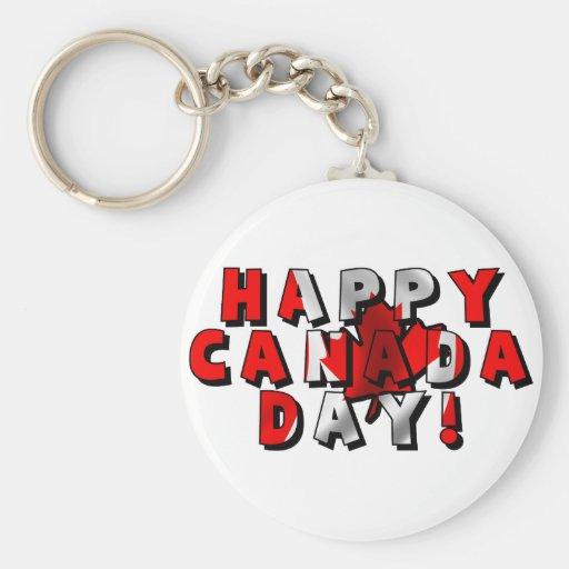 Happy Canada Day Flag Text Key Chains